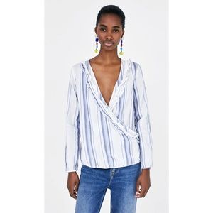 NWT Zara Blue White Stripe Wrap Raw Hem Boho Top M